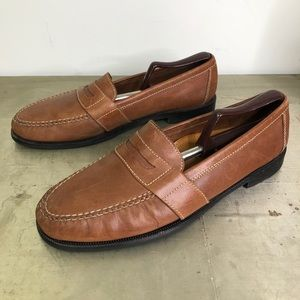 Cole Haan Douglas Tan Leather Penny Loafers